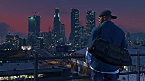 Картинка GTA 5 Небоскребы Улица Ночь Los Santos Игры