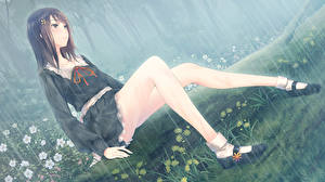 Фотографии Дождь Ноги kousaka mayuri sugina miki innocent grey upscale Девушки