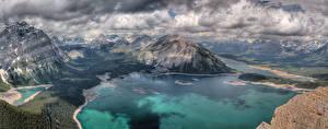 Картинка Озеро Гора Пейзаж Облака Природа
