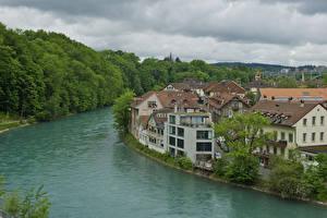 Картинка Швейцария Реки Дома Берн