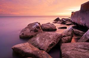 Фотографии Озеро Камни Штаты Побережье Чикаго город Мичиган Природа