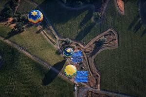 Картинка Поля Воздушный шар Сверху Природа