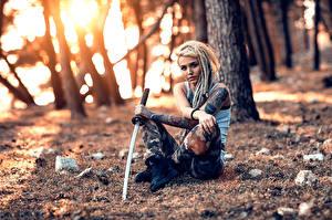 Обои Лес Мечи Татуировки The Lost Warrior Alessandro Di Cicco молодая женщина