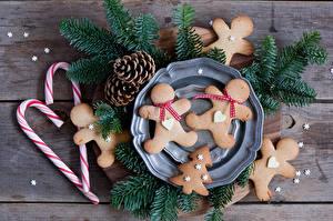 Картинка Рождество Печенье Сладости Ветки Шишки