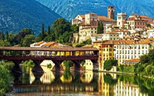 Фото Италия Мосты Дома Альпы Bassano del Grappa Ponte degli Alpini Alpini's bridge Brenta River Veneto Города