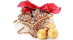 Фото Новый год Выпечка Печенье Шарики Бантик