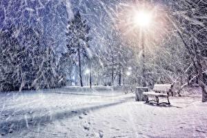 Фотографии Времена года Зимние Парки Снег Снежинки Ночью Уличные фонари Скамья Природа