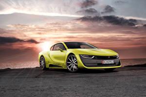 Фотографии БМВ Тюнинг Небо Салатовая 2015 Rinspeed Etos concept (BMW i8) Автомобили