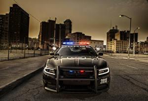Фотография Dodge Спереди Черные Полицейская 2015 Charger Pursuit Автомобили