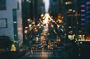 Фотографии США Дороги Нью-Йорк Ночь Улиц город