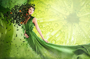Картинка Зеленая Платье Лист LIMEORANGE девушка