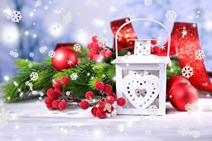 Обои Праздники Новый год Шарики Снежинки Фонарь фото