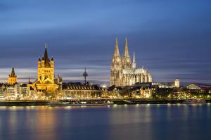 Фотография Германия Дома Речка Причалы Кёльн Ночь Уличные фонари