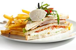 Фото Фастфуд Бутерброды Картофель фри Овощи Сэндвич Еда