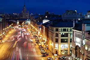 Картинки Россия Москва Дома Дороги Улица Ночные Уличные фонари Движение город