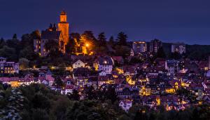 Картинки Германия Здания Ночь Уличные фонари Kronberg город