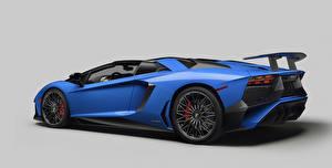 Картинка Lamborghini Синяя Роскошные 2015 Aventador LP 750-4 Автомобили