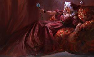Картинка Новый год Картина Посоха Платье art Девушки
