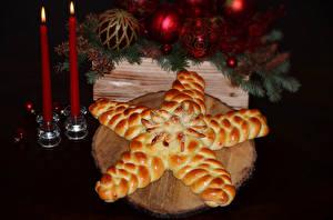 Обои Выпечка Свечи Новый год Шарики Еда фото