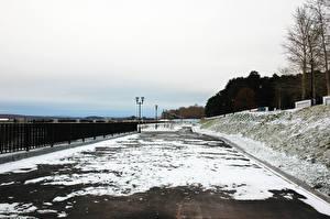 Обои Россия Набережная Снег Ограда Ust-Kachka Города
