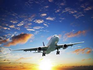 Обои Самолеты Пассажирские Самолеты Небо Облака Авиация