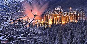 Обои Канада Зимние Парк Лес Отель Снегу Дерево Ветвь Банф Springs Alberta Города
