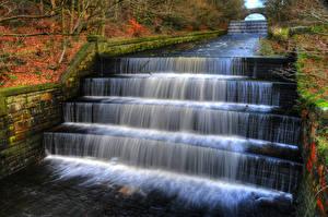 Фотография Англия Парки Водопады Осенние Лестница Yarrow valley park Природа