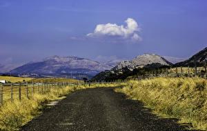 Обои Дороги Горы Забор Природа