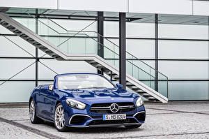 Фотографии Mercedes-Benz Синяя Металлик Кабриолета 2015 Mercedes-AMG SL 65 авто
