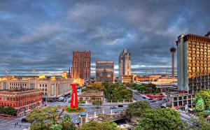 Фотографии США Дома Дороги Небо Техас Улиц San Antonio город