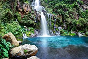 Фото Франция Парк Водопады Камни Reunion island Saint-Gilles Природа