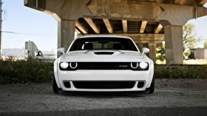 Картинка Dodge Спереди Белые 2014 Challenger SRT Hellcat автомобиль