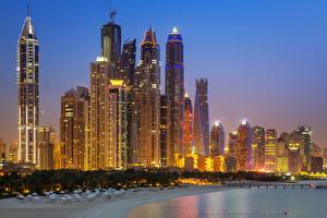 Обои Объединённые Арабские Эмираты Дубай Небоскребы Берег Ночные Города