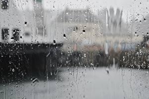 Обои Дождь Стекло Капли Города