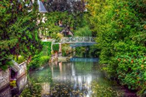 Обои Франция Мосты Пруд Деревьев HDRI Chartres Природа