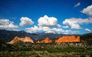 Фото Штаты Гора Небо Утес Облачно Colorado Springs Природа