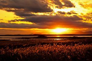 Картинки Рассветы и закаты Озеро Горизонт Облака Природа