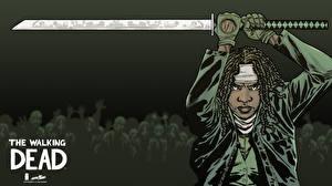 Фотографии Ходячие мертвецы Данай Гурира Катана Негры Мечи katana pose Michonne Фильмы Девушки