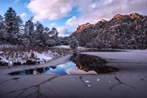 Картинки США Гора Зимние Облака Prescott Arizona Природа