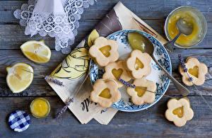 Картинка Выпечка Печенье Лимоны Мед Тарелка