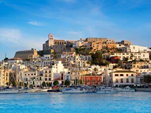 Фотография Испания Дома Берег Пирсы Парусные Море Мальорка Майорка Ibiza город
