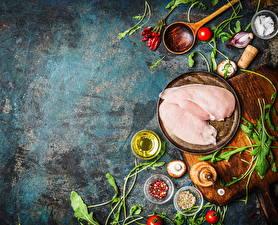 Фото Мясные продукты Курица Приправы Грибы