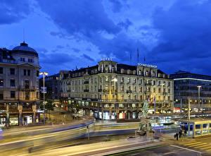 Обои Швейцария Дома Дороги Памятники Цюрих Улице Города