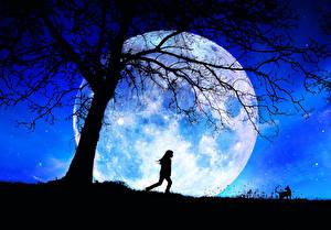 Картинки Луны Девочка Силуэт В ночи Ветка Космос Дети