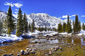 Фотография Пейзаж США Парк Горы Зимние Камни Ели Снег Ручей Grand Teton Природа