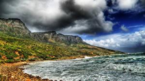 Обои Море Побережье HDR Скала Облака Природа фото