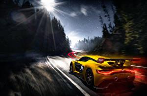Картинка Рено Сзади Желтых Скорость Sport Автомобили
