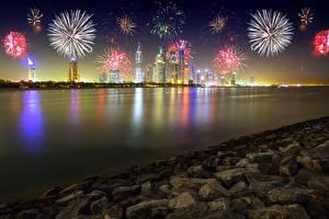 Фотография ОАЭ Дубай Небоскребы Праздники Салют Камень Ночь Города
