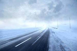 Фотография Дороги Зимние Снега Тумана Природа