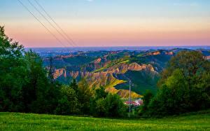 Фотография Италия Пейзаж Горы Кусты Brisighella Природа